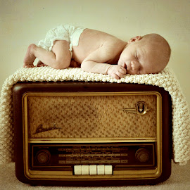 Vintage Radio by Leah Karen - Babies & Children Babies ( newborn photography, vintage, newborn shoot, radio, adorable, photoshoot, baby, cute, newborns, baby boy, photography, newborn )