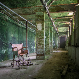 Tunnels by Katherine Caprio - Buildings & Architecture Decaying & Abandoned ( explore, asylum, wheelchair, green, tunnels, fine art, print, hospital, decay, abandoned )