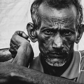 old man by Ankur Gupta - People Portraits of Men ( b/w, oldman, india, portrait, rural )