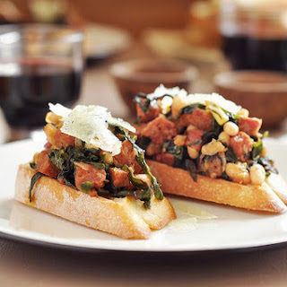Chorizo, White Bean and Chard Bruschetta