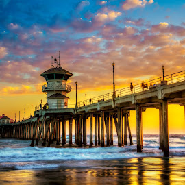 by Linh Tat - Buildings & Architecture Bridges & Suspended Structures ( colorful, sunset, beautiful, cloud, pier, beach, huntington )