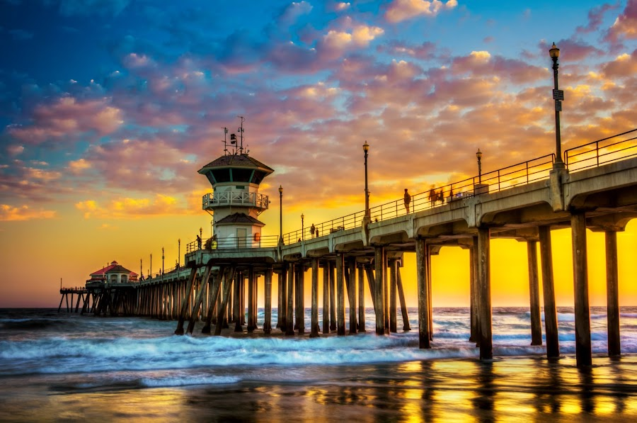 by Linh Tat - Buildings & Architecture Bridges & Suspended Structures ( colorful, sunset, beautiful, cloud, pier, beach, huntington,  )