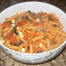 Delicious Penne Vodka With Fresh Mushrooms, Mozzarella, Olives,