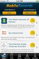 Screenshot of Mobile Rewards