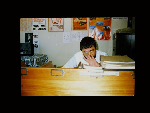 Ex-security policeman PAUL ERASMUS behind his desk in his office on the 9th floor of John Vorster Square, date unknown