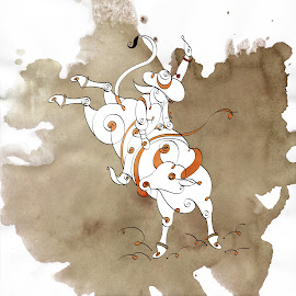 Bull Ride by Inkjalebi Art in Style! - Painting All Painting ( cowboy, water colour, texas, western, painting, bullride )