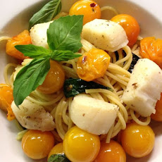 Spaghetti with Sungold Tomatoes and Scallops