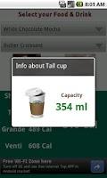 Screenshot of My Starbucks Calorie