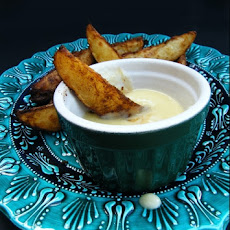 Cheddar Fondue Dip & Curried Potato Wedges