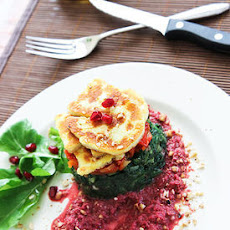 Halloumi Spinach Stack with Garlicky Beetroot Hummus