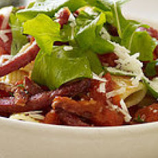Roasted Red Pepper Rigatoni Arrabbiata with Sopressata Sticks