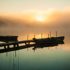 Calm, Misty Lake With Pier And Boats (Wide Shot Of Pier) by Joe Boyle - Transportation Boats ( lake )