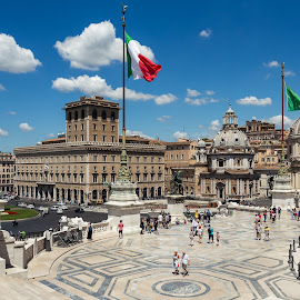 Monumento Vittorio Emanuele II by Pierre Bo - Buildings & Architecture Public & Historical ( stair, europe, noon, exterior, architectural element, shade of blue, tourist, statue, monumento vittorio emanuele ii, flag, sky blue, stairway, rome, sunny, staircase, weather, summer, cloud, italy, santa maria di loreto, travel photography )