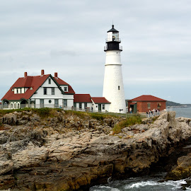 Portland Head Light by Michael Lopes - Buildings & Architecture Other Exteriors ( seashore, lighthouse, portland head light, landscape, maine lighthouses )