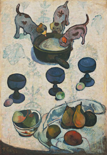 "From MoMA.org: When Gauguin painted Still Life with Three Puppies he was living in Brittany among a group of experimental painters. He abandoned naturalistic depictions and colors, declaring that ""art is an abstraction"" to be derived ""from nature while dreaming before it."" The puppies' bodies, for example, are outlined in bold blue, and the patterning of their coats mirrors the botanical print of the tablecloth. It is thought that Gauguin drew stylistic inspiration for this painting from children's-book illustrations and from Japanese prints, which were introduced to him by his friend and fellow artist Vincent van Gogh that year."