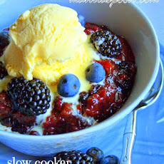 Slow Cooker Three Berry Cobbler