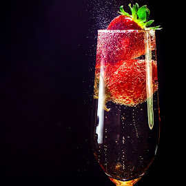 Strawberries & Bubbly by Hiram Christian - Food & Drink Alcohol & Drinks ( red, champagne, drink, bubbles, strawberry, fizz, lowkey )