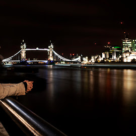 Thames by Greg Brzezicki - City,  Street & Park  Vistas ( london, tower bridge, night, light, river )