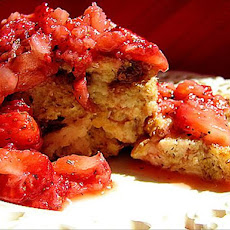 Bread Pudding With Raspberry/Strawberry Topping