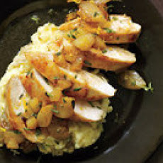 Chicken with Apples, Pears and Camembert Mashed Potatoes