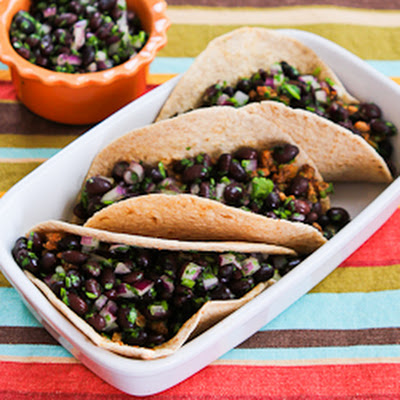Ground Turkey Green Chile Soft Tacos with Black Bean Cilantro Salsa