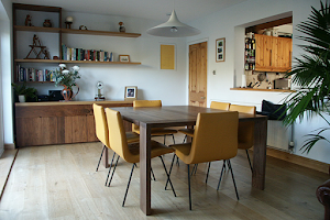 Slim, Modern Dining Table with Chairs, Offset Shelving and Sideboard