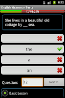 Screenshot of English Grammar Tests