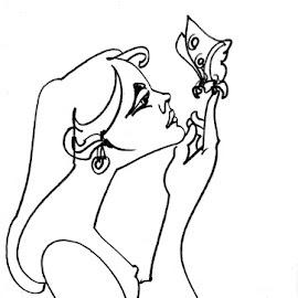 one line - woman with butterfly by Tomáš Kčméry - Drawing All Drawing ( one line drawing, woman with butterfly, continuous line drawing )