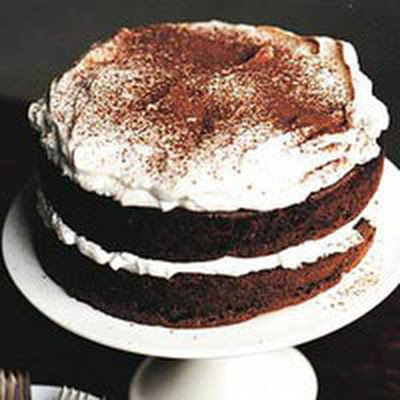 Cranberry Chocolate Cake with Rummy Whipped Cream