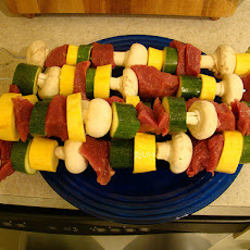 Beef and Vegetable Kabobs in Red Wine Marinade