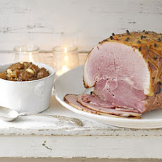 Glazed Christmas ham with pineapple chutney