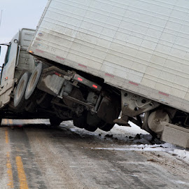 Slippery Road by Kansas Allen - News & Events Weather & Storms ( winter, accident, canada, cops, truck, semi, bc, lillooet, rcmp )