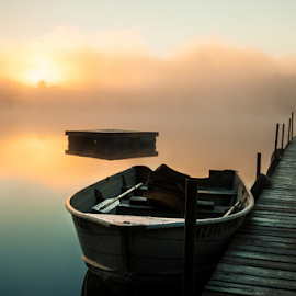 Calm, Misty Lake With Pier And Boats (Boat Close) by Joe Boyle - Landscapes Waterscapes ( fog, beautiful, lake, sunrise, mist )