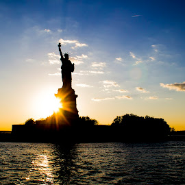 Where freedom lives by Bharath Pasupuleti - Buildings & Architecture Statues & Monuments ( liberty, statue, sunset, nyc, ny,  )