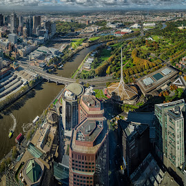 Melbourne by Krasimir Lazarov - City,  Street & Park  Vistas ( melbourne, skyscrapers, tourism, cityscape, architecture, panorama, city, yarra riber, eureka tower, towers, skyscraper, australia, vista, buildings, panoramic, travel locations, river )