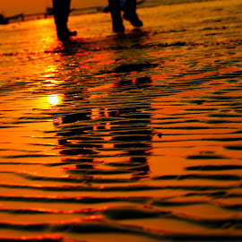 Beach texture with shadows by Saket Joshi - Landscapes Beaches ( texture, sunset, beach, sunlight, shadows )