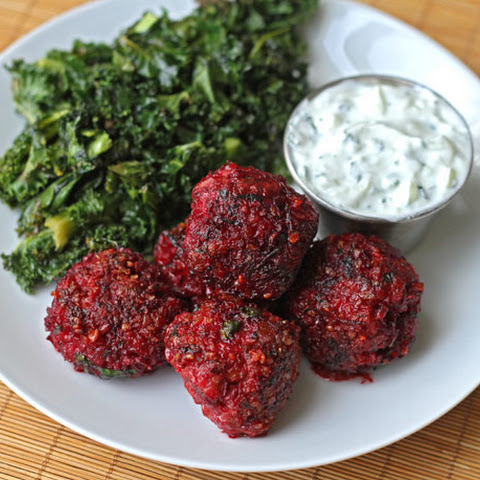 Lamb, Beet, and Cracked Wheat Meatballs with Cucumber Yogurt Sauce