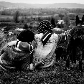 Childhood by Dragos Birtoiu - Black & White Portraits & People ( friendship, romania, childhood, dog, , Free, Freedom, Inspire, Inspiring, Inspirational, Emotion, black and white, b&w, child, portrait )