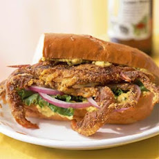 Cajun-Spiced Soft-Shell Crab Sandwich with Yellow Pepper and Caper Aioli