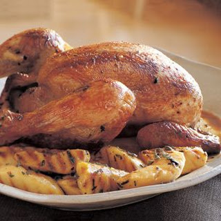 Cider-Brined Grill-Roasted Chicken with Grilled Apples and Sage