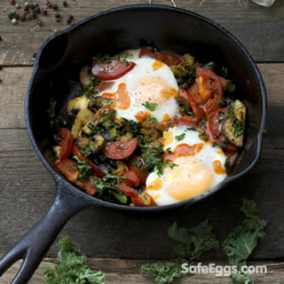 Baked Eggs with Kale, Mushrooms and Tomato