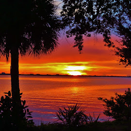 Riverside Sunset by Tom Perkins Ewell - Novices Only Landscapes ( indialantic, indialantic sunset )