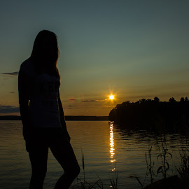 Sunny Silhouettes by Blaine Linton - Novices Only Landscapes ( water, woman, sunset, candid, lake )