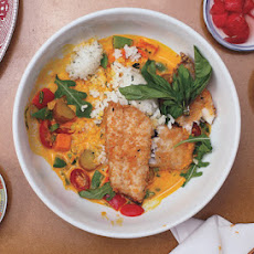 Bass with Herbed Rice and Coconut-Vegetable Chowder