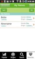 Screenshot of Baby Names