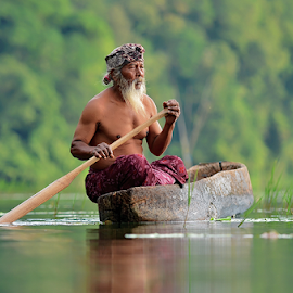 Simple Man by Hendri Suhandi - People Portraits of Men ( bali, old men, aged man, street, lake, fisherman )