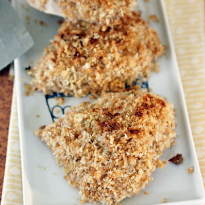 Lemon Honey Goat Cheese Crusted Chicken