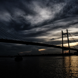 sunset by Ritesh RoyChowdhury - Landscapes Sunsets & Sunrises ( water, nature, sunset, bridge )