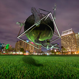 Lending A Hand by Christopher Payne - Digital Art Abstract ( diego, reflection, ball, park, grass, city, hand, san, sky, orb, town, down, downtown, reflect )