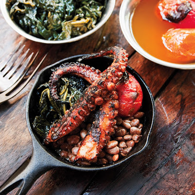 Grilled Octopus with Kale, Tomatoes, and Beans
